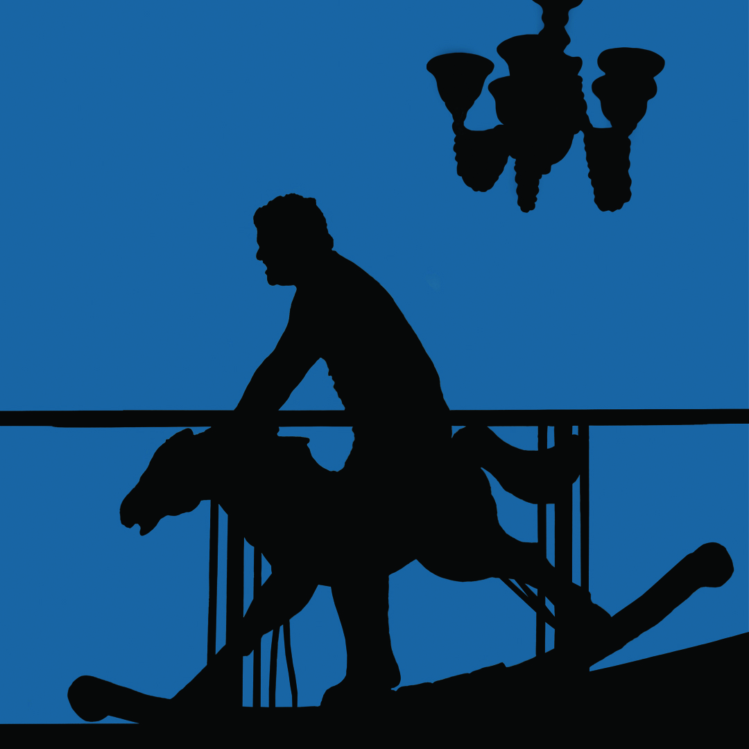 The silhouette of a man on a rocking horse