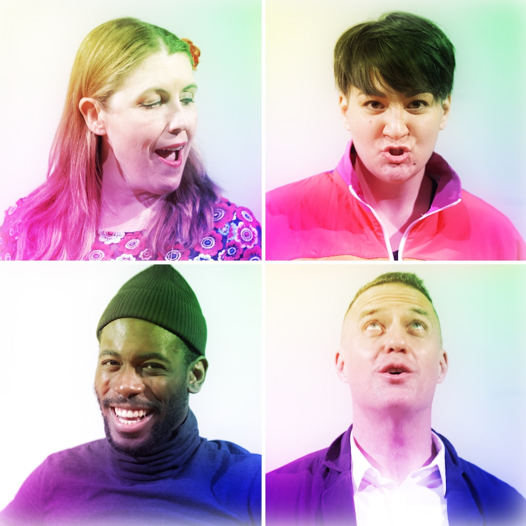 Four singers in brightly coloured Euro-pop style clothes